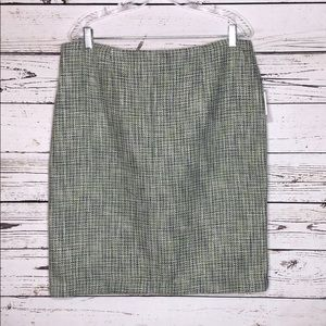 Premise NWT 14 Green & Blue Tweed Pencil Skirt